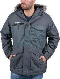 Basehit Jacket with Fur on Hood Ebony από το Cosmos Sport