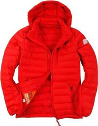 Body Action Slim Fit Zip Up Hooded Jacket 073613-Red από το Zakcret Sports